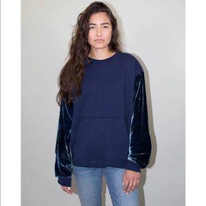 DRIFTER Navy Pullover w Velvet Trim Sleeves